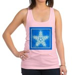 Blue and White Star Snowflake Racerback Tank Top