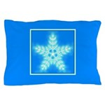 Blue and White Star Snowflake Pillow Case