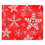 Red and White Snowflake Pattern King Duvet