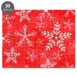 Red and White Snowflake Pattern Puzzle