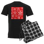 Red and White Snowflake Pattern Men's Dark Pajamas