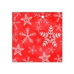 Red and White Snowflake Pattern Square Sticker 3