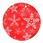 Red and White Snowflake Pattern Round Car Magnet