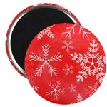 Red and White Snowflake Pattern Magnet