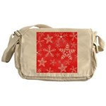 Red and White Snowflake Pattern Messenger Bag