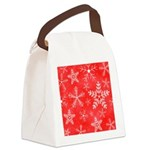 Red and White Snowflake Pattern Canvas Lunch Bag