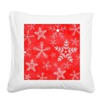 Red and White Snowflake Pattern Square Canvas Pill