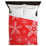 Red and White Snowflake Pattern Queen Duvet