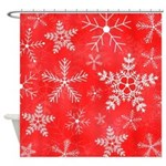 Red and White Snowflake Pattern Shower Curtain