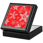 Red and White Snowflake Pattern Keepsake Box