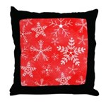 Red and White Snowflake Pattern Throw Pillow