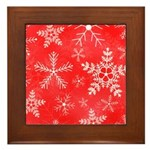 Red and White Snowflake Pattern Framed Tile