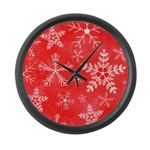 Red and White Snowflake Pattern Large Wall Clock