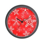 Red and White Snowflake Pattern Wall Clock
