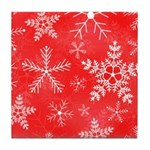 Red and White Snowflake Pattern Tile Coaster