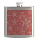 Red and White Snowflake Pattern Flask