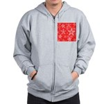 Red and White Snowflake Pattern Zip Hoodie