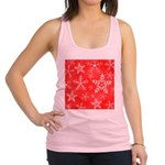 Red and White Snowflake Pattern Racerback Tank Top