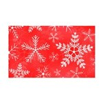 Red and White Snowflake Pattern 35x21 Wall Decal