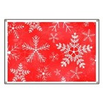 Red and White Snowflake Pattern Banner