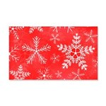 Red and White Snowflake Pattern 20x12 Wall Decal