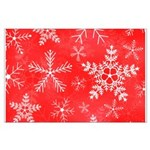 Red and White Snowflake Pattern Large Poster