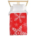 Red and White Snowflake Pattern Twin Duvet