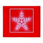 Red and White Star Snowflake Throw Blanket