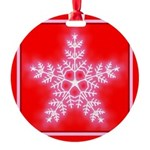 Red and White Star Snowflake Round Ornament