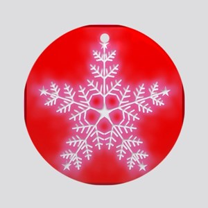 Red and White Star Snowflake Ornament (Round)