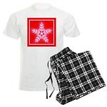 Red and White Star Snowflake Men's Light Pajamas