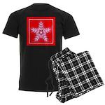 Red and White Star Snowflake Men's Dark Pajamas