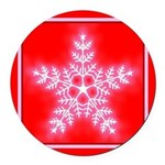 Red and White Star Snowflake Round Car Magnet
