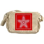 Red and White Star Snowflake Messenger Bag