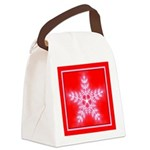 Red and White Star Snowflake Canvas Lunch Bag