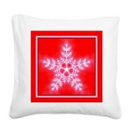 Red and White Star Snowflake Square Canvas Pillow