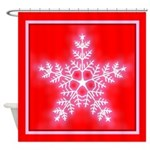 Red and White Star Snowflake Shower Curtain