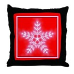 Red and White Star Snowflake Throw Pillow