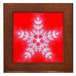 Red and White Star Snowflake Framed Tile