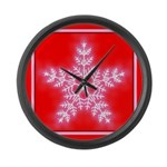 Red and White Star Snowflake Large Wall Clock