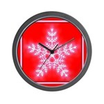 Red and White Star Snowflake Wall Clock