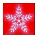 Red and White Star Snowflake Tile Coaster