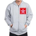 Red and White Star Snowflake Zip Hoodie