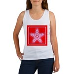 Red and White Star Snowflake Women's Tank Top