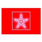 Red and White Star Snowflake Large Poster