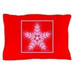 Red and White Star Snowflake Pillow Case