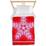Red and White Star Snowflake Twin Duvet