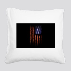 American flag Grunge Black Square Canvas Pillow