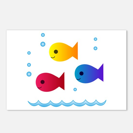 school of fish Postcards (Package of 8)