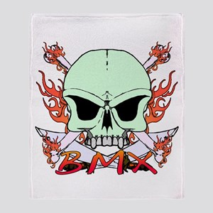 BMX skull 3 Throw Blanket